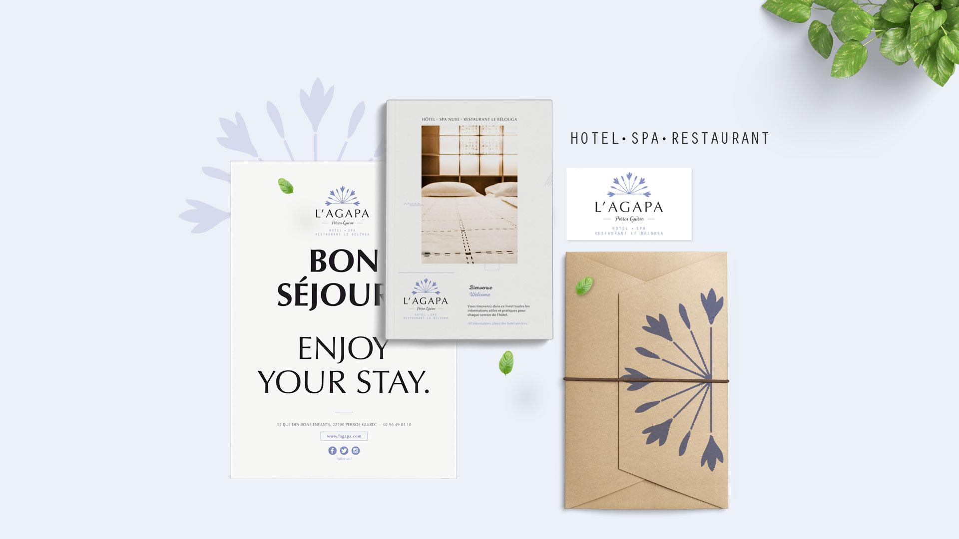 identit visuelle et conception des supports de communication hotel agapa perros guirec. Black Bedroom Furniture Sets. Home Design Ideas